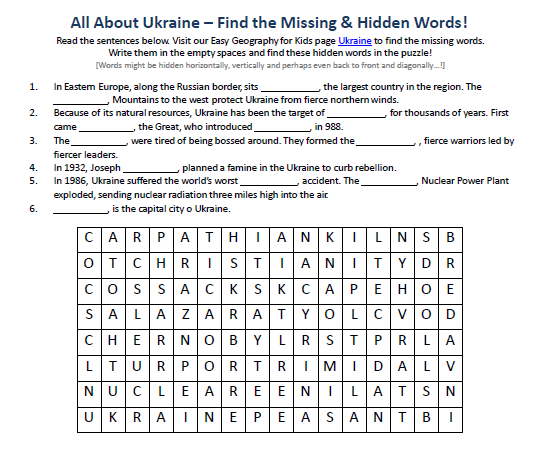 Download our FREE Ukraine Worksheet for Kids!