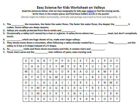 Download our FREE Valleys Worksheet for Kids!