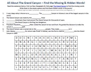 Download our FREE Grand Canyon Worksheet for Kids!