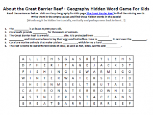 Download our FREE Great Barrier Reef Worksheet for Kids!