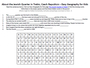 Download our FREE Jewish Quarter in Trebic Worksheet for Kids!