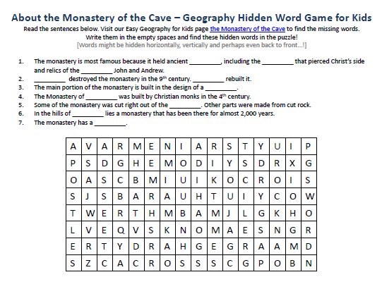 Download our FREE Monastery of the Cave Worksheet for Kids!