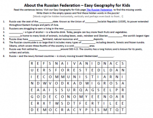 Download our FREE Russian Federation Worksheet for Kids!