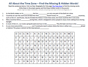 Download our FREE Time Zone Worksheet for Kids!